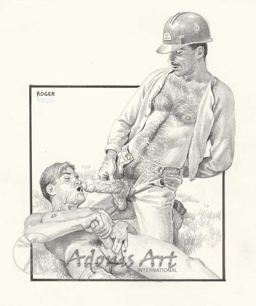 Erotic Drawing No. A106 by Roger Payne