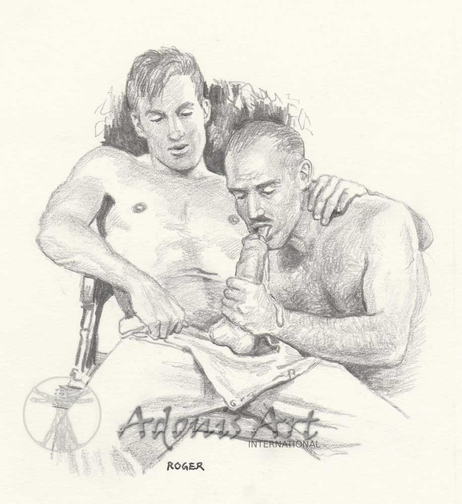 Erotic Drawing No. A107 by Roger Payne