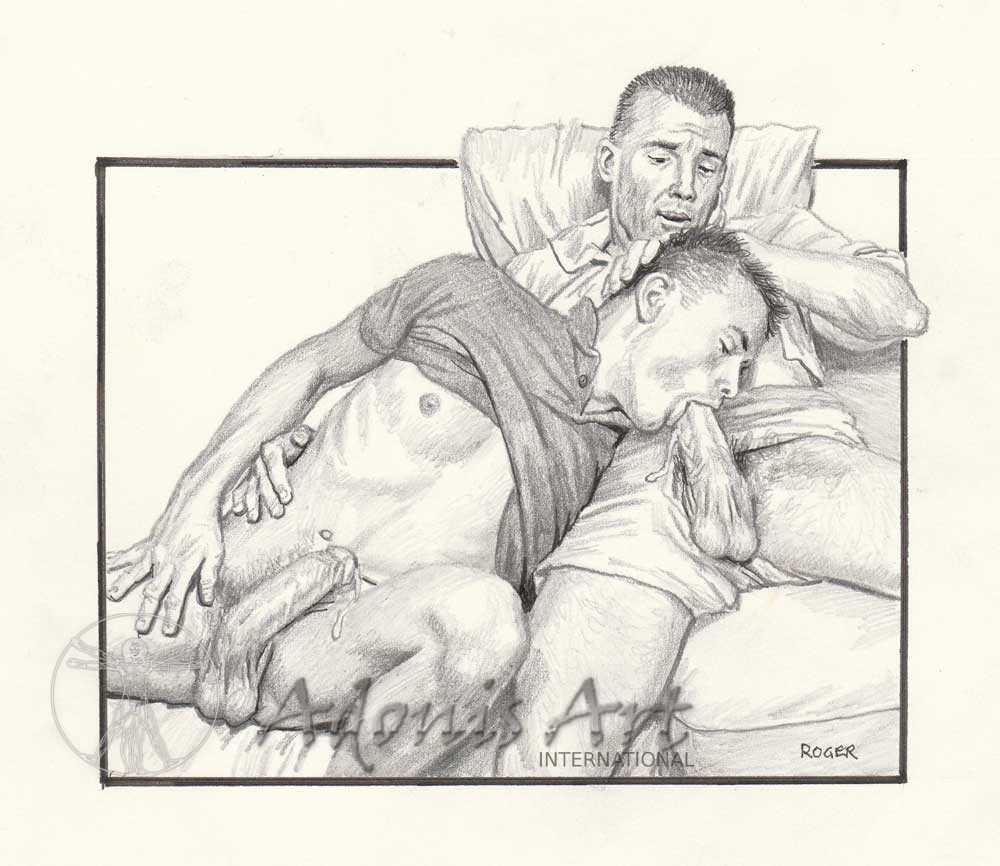 Erotic Drawing No. A112 by Roger Payne