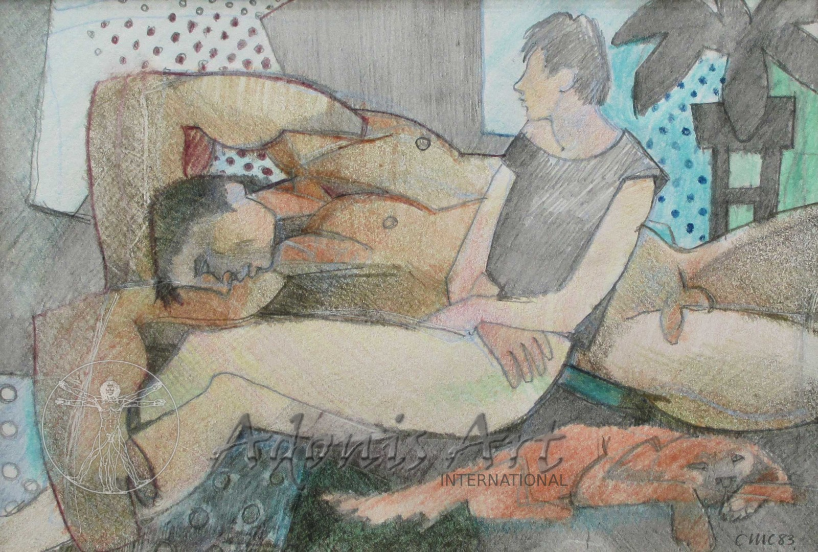 'Lovers in an Interior with Dog' by Cornelius McCarthy