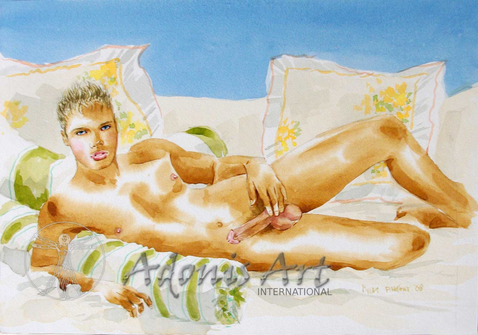 'Blond Beauty' watercolour by Myles Antony