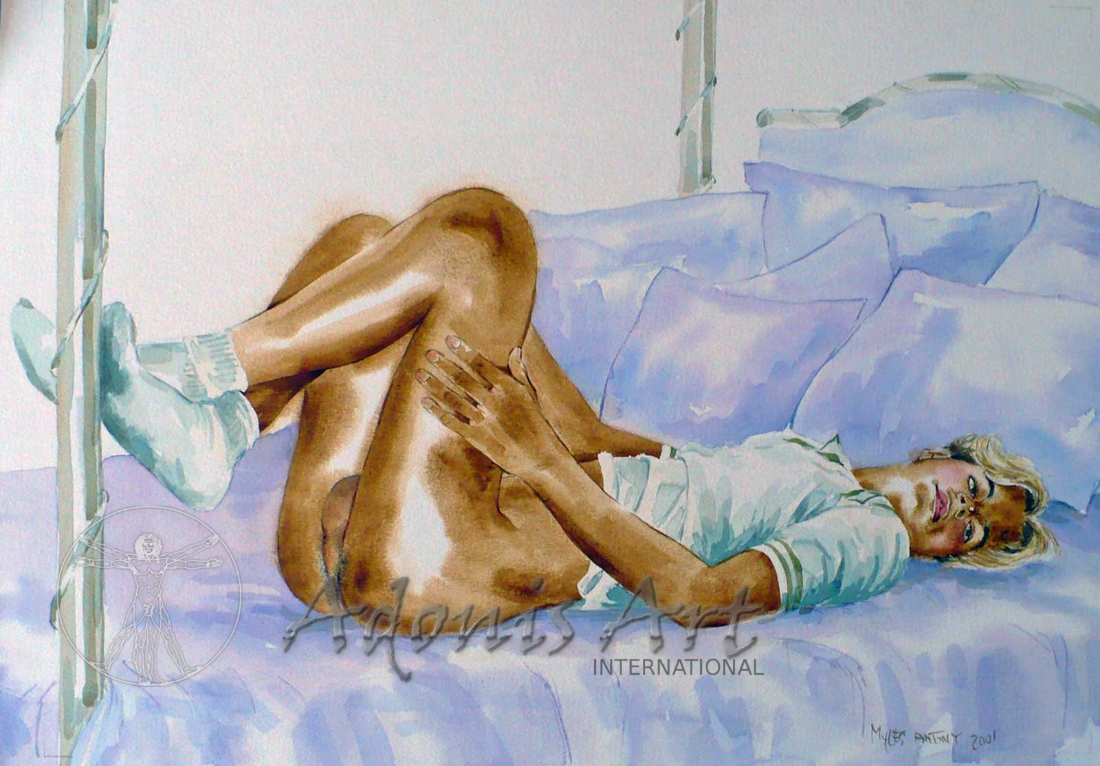 'Ready to Bed' watercolour by Myles Antony