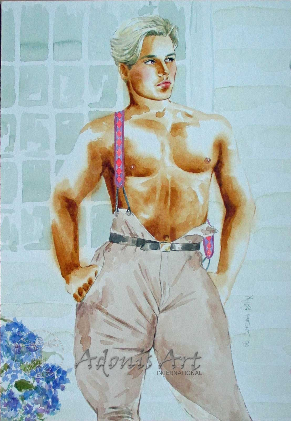 'Saxon Stableboy' watercolour by Myles Antony