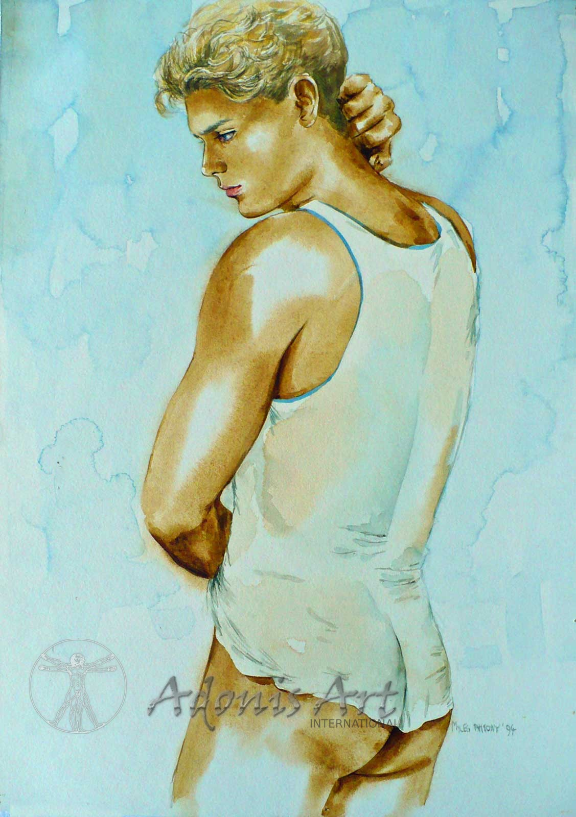 'In his Vest' watercolour painting by Myles Antony