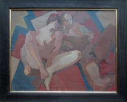 Thumbnail image: 'Nudes on Red and Blue Cloth' by Cornelius McCarthy