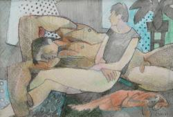 Thumbnail image: 'Lovers in an Interior with Dog' by Cornelius McCarthy